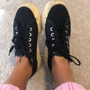 Black Superga platform sneakers! Size 38